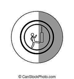 sticker of monochrome pictogram with man kicking a punching bag in circular frame