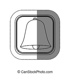sticker of monochrome rounded square with bell icon