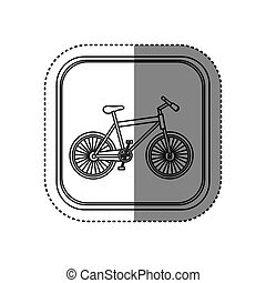 sticker of monochrome rounded square with bicycle