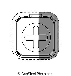 sticker of monochrome rounded square with first aid kit