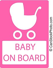 sticker of No Baby Carriage Sign. Vector illustration. No strollers or pushchair, No pram sign on white background.