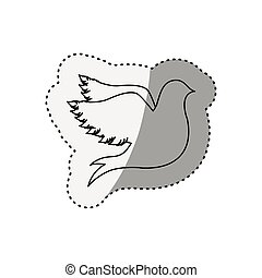 sticker of silhouette fly bird shading