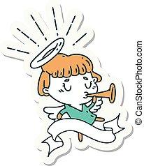sticker of tattoo style angel blowing trumpet