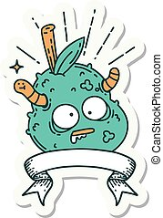 sticker of tattoo style rotten pear - sticker of a tattoo ...