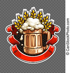 Sticker of wooden Beer mug with wheat ears