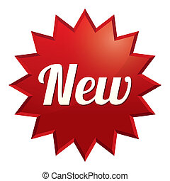 sticker., offer., especial, nuevo, tag., rojo, icono