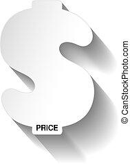 sticker., offerta, prezzo, dollaro, carta, vettore, label., tag., bianco, speciale