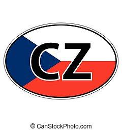 Sticker on car, flag Czechia, Chech, Czech Republic the...
