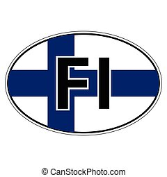 Sticker on car, flag Finland