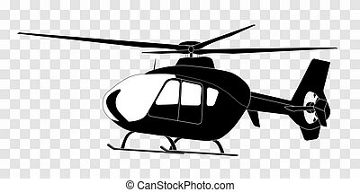 Sticker on car: Silhouette of helicopter. Vector Illustration.
