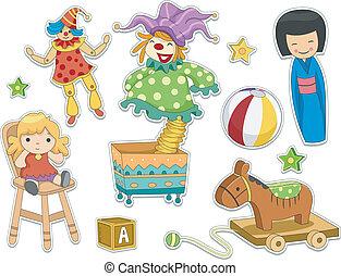 sticker, ontwerp, speelgoed