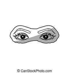 sticker outline woman with open eyes