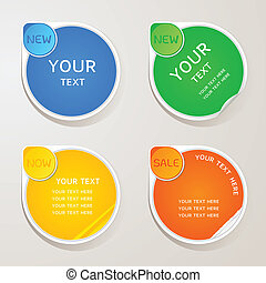 Sticker paper colors set, EPS10, This illustration contains transparency.