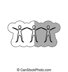 sticker people with hands up icon