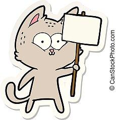 sticker, plakkaat, spotprent, kat