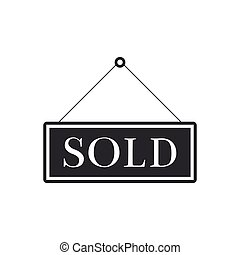 sticker., plat, isolated., vendu, signboard., illustration, signe, vecteur, design.