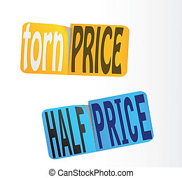 sticker., preço, vector., metade