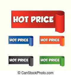 sticker., prezzo, illustrazione, etichetta, caldo, vettore, fondo, bianco