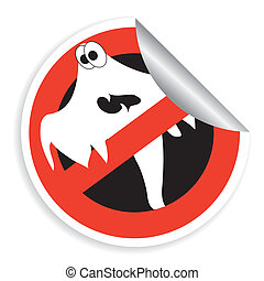 Sticker prohibition sign with ghost for Halloween