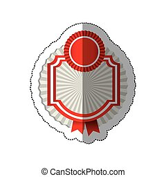 sticker radial background with circular emblem with heraldic border and ribbon