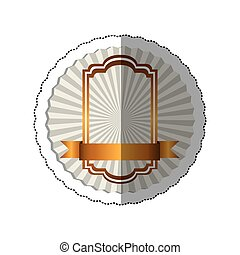 sticker radial background with elegant golden heraldic frame and ribbon