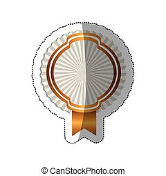 sticker radial background with golden heraldic border and ribbon
