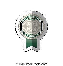 sticker radial background with green heraldic frame and ribbon