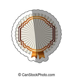 sticker radial background with heraldic border and ribbon