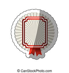 sticker radial background with rectangle heraldic border and red ribbon
