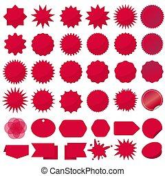 sticker., rayons, éclatement, agrafe, ensemble, starburst, vente, cachets, vecteur, sparkles., rouges, art.