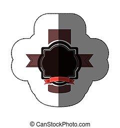 sticker realistc black heraldic ornament decorative icon...