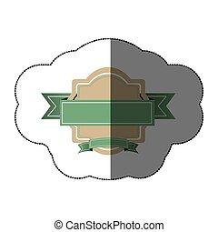 sticker realistc heraldic ornament with green ribbon...