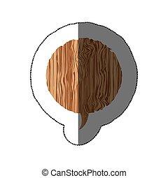 sticker realistc wooden texture circular dialog box