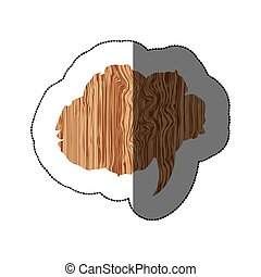 sticker realistc wooden texture cloud dialog callout vector...