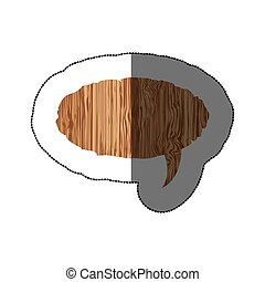sticker realistc wooden texture oval dialog box vector...