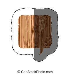 sticker realistc wooden texture square dialog box vector...