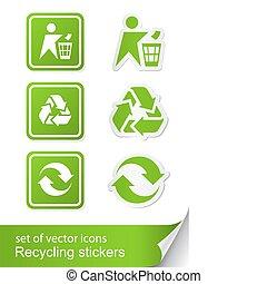 sticker, recycling, set, meldingsbord, pictogram
