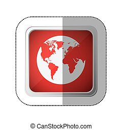 sticker red square button with silhouette globe earth world map