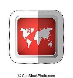 sticker red square button with silhouette world map