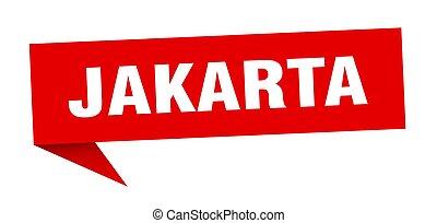 sticker., rojo, indicador, señal, poste indicador, yakarta