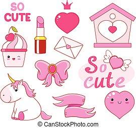 sticker, schattig, kleine prinses, verzameling