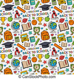 Sticker school pattern. Themed design with different elements:hat graduate, scroll, apple, books, flasks, basketball, alarm clock, briefcase, backpack, school bus, globe, ruler, microscope