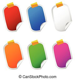 sticker set color illustration on white