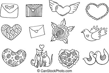 Sticker set for Valentine's Day - coloring page. Doodle cartoon isolated set with hearts, animal, letters. Vector illustration