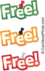 """Sticker set """"Free"""" fixed by a thumb"""