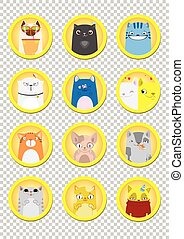 Sticker set  funny cute cats. Set of funny cats stickers. Set of stickers, pins, patches in cartoon comic style.