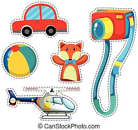 Sticker set of colorful toys