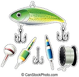 Sticker set of fishing equipment illustration