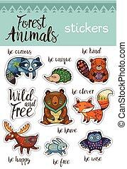 Sticker set of forest animals in cartoon style