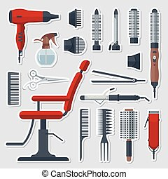 Sticker set of hairdresser objects in flat style on gray background. Hair salon equipment and tools, hairdryer, comb, scissors, chair, hairclipper, curling, hair straightener. Sticky labels
